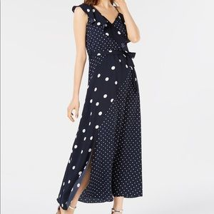 Bar III Navy dot maxi dress
